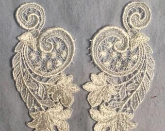 White Venice Lace Appliqué set, bridal lace, craft lace