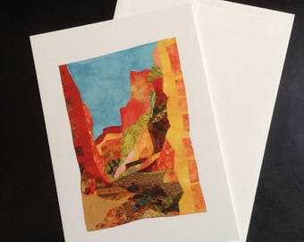 Canyon V, blank card with image of original textile collage by Darcy Falk, with free shipping