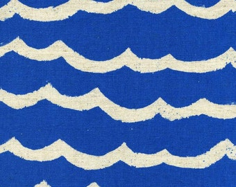Kujira and Star Cotton Linen Canvas, Waves Blue Sea, Half Yard, Cotton + Steel Fabrics, ocean canvas fabric, blue canvas,