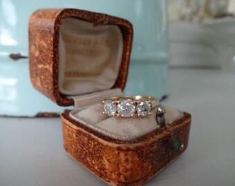 Lovely 14K Yellow Gold Triology 0.85ct Carat Diamond Ring Size M