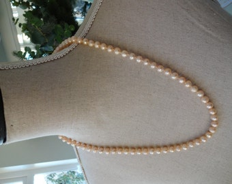 Real Peach Freshwater Cultured Pearl Necklace - Ball Clasp