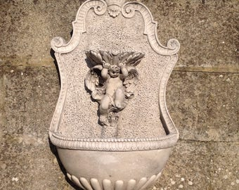 Stone Cherub Garden Wall Mounted Fountain - Comes Complete with Fitted Pump - Outdoor or Indoor Use