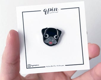 Black Pug Enamel Pin- Black Pug Brooch