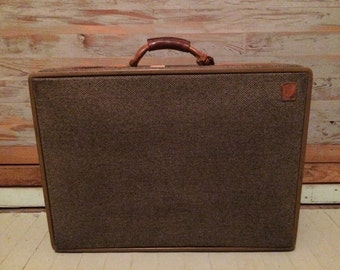 Hartmann suitcase, tweed and caramel leather vintage suitcase, 60s luggage
