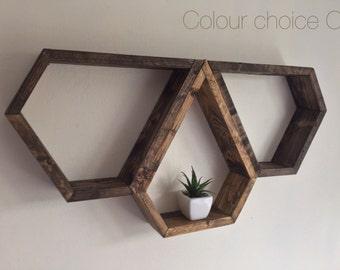 3 shelves, Boho decor, Modern shelving,  geometric shelving, shelves, floating shelf, diamond shelf, rustic, hippy, reclaimed wood, hexagon