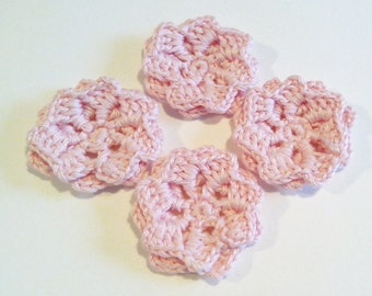 4 Crochet  Flowers for applications / Set of  4 Pz Crochet Flowers / Crochet Scrapbooking/Crochet  Applique/  pink flowers