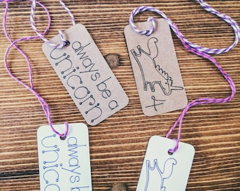 Unicorn Birthday Party Favor Tags (Set of 20)