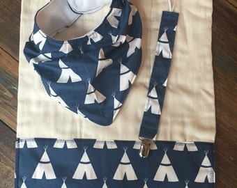 Slouchy Bandana Bib, Burp Cloth, and Pacifier Clip Set