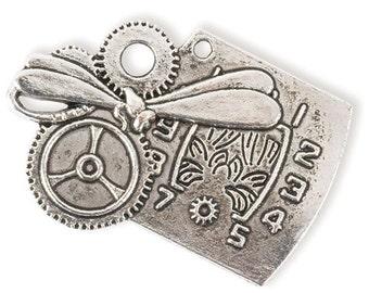 Clock Pendant w/ Dragonfly detail (STEAM110)