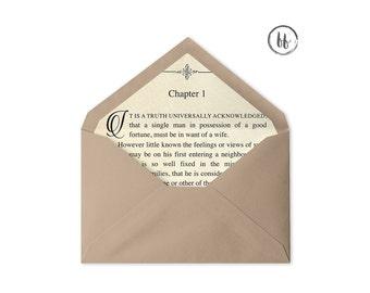 Printable Envelope Liner | Book Page Envelope Liner | Multiple Sizes | A7 Envelope Liner | 4 Bar Envelope Liner | Envelope Liner Template