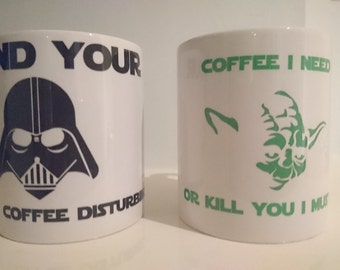 Custom Mug, Geek Mug, Funny Mug, Yoda Mug, Darth Vader Mug, Coffee Mug, Tea Mug, Geek Gift, Geek Mug, Drinking Mug, Sci Fi, Star, Wars