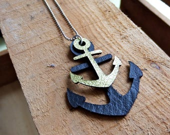 necklace anchors (leather), lasercut, anchor necklace, black, gold, leather necklace