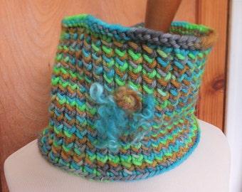Hand knit wool cowl, handdyed wool cowl, merino wool cowl