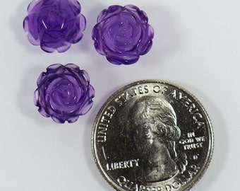 2 Pieces Amethyst Carved Beads, 12 mm Flower Shape Beads, Carved Rose, Purple Half Hole Stones, Ideal for earrings