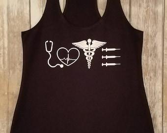 Nurse Tank Top - Nurse LOVE - Medical Professional Shirt