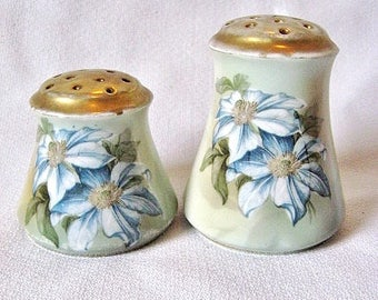 Vintage Germany Porcelain Salt & Pepper Shakers Blue Flowers Gold Trim