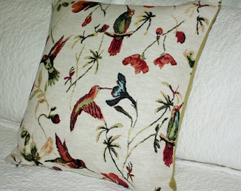 "Hummingbird Tapestry cushion cover 45 x 45 cm (18"" x 18"") with Deep Red back"