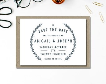 Save the Date Printable | Simple Save the Date | Typography Save the Date | Navy and White | Minimal Wedding Stationery | Print at home