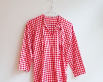 Vintage checked gingham blouse top Farm Hippie S