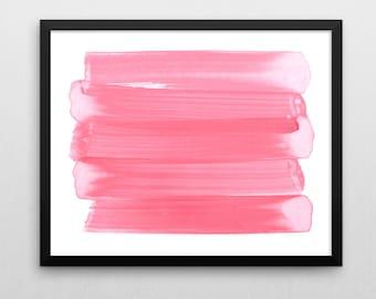 Watercolor Painting, Abstract Watercolor, Fine Art Print, Giclee Print, Pink Brushstrokes, Pink Nursery Decor, Modern Nursery, Modern Art