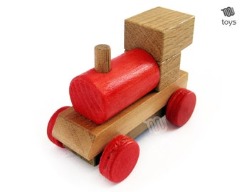Red Train Locomotive - mini wood toy
