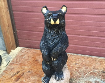 """Black Bear Chainsaw Carving.  It stands approx 38"""" tall.  Free shipping in US."""