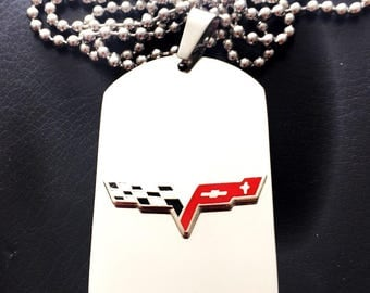 Corvette C6 Titanium Steel Dog Tag with adjustable 24-Inch beaded necklace with Free Engraving