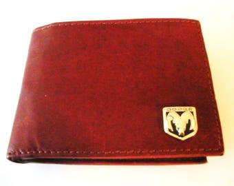 Dodge Ram Brown Calfskin Men's Bifold Wallet