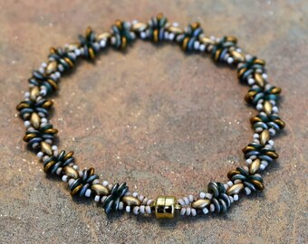 Apollo Style, Seed Bead Bracelet, Gold, Copper, Green, Vitrail, Hand Made, Magnetic Clasp