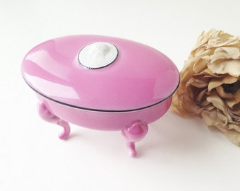 Delicate Pink Trinket Box with Legs / Pink Ring Box / Pink Jewelry Box / Jewelry Box / Ring Box / Cameo / Cameo Ring Box / Cameo Trinket Box