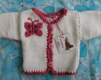 Hand-Knit Pink or White Butterfly Sweater Cardigan for Newborn Babies , Acrylic