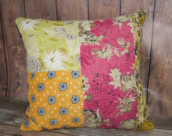 Kantha Pillows.  Vintage Kantha Quilts. Boho Style Pillows.  Spring Decor. Floral Pillows.  One of a Kind