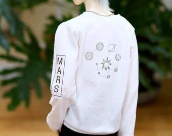 BJD SD17 Planets Sweatshirt - White