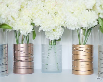 Vase Set, Set of 5 Dipped Striped Vases