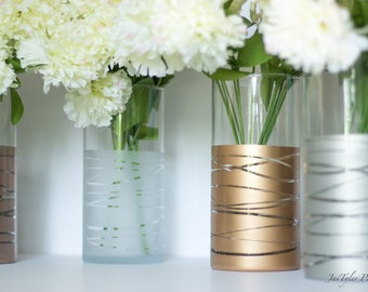Vase Set, Set of Dipped Striped Vases