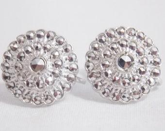 Sterling Silver Marcasite Screw on Earrings Marcasite Earrings Sterling Earrings Silver Earrings Flower Screw on Earrings Flower earrings