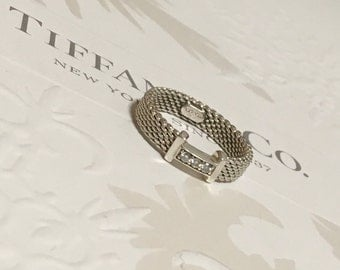 Authentic Tiffany & Co. Somerset Mesh Diamond Ring Silver RP575 Size 4.75