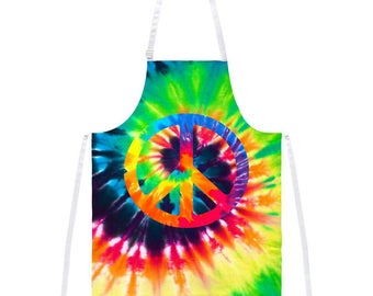 Peace Sign Tie Dye All Over Apron