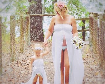 Mother and daughter matching maternity dresses for photo shoot, photo prop, maternity drape, maternity gown
