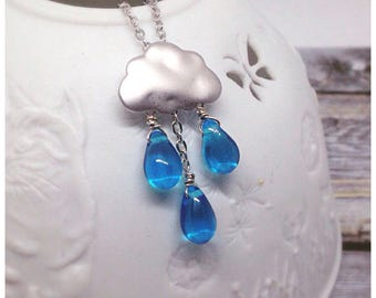 Cloud Necklace, Rain Cloud,  Raindrops, Clouds, cloud Charm, Blue Teardrop, Buy a Gift, Jewellery, British Weather, Necklaces, Ella Rose,