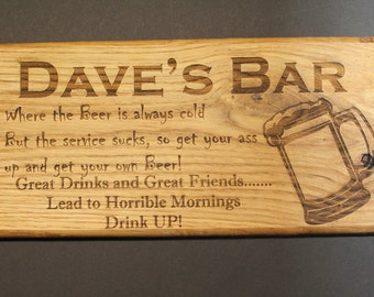 Custom Sign, personalized Sign, Laser engraved sign, Bar sign, Drinking sign, Custom Laser engraved sign, Personalized Laser sign, Man cave