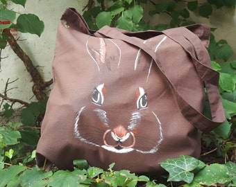 Bunny - hand painted tote bag