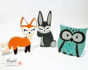 Woodland Handmade Fox, Owl and Bunny