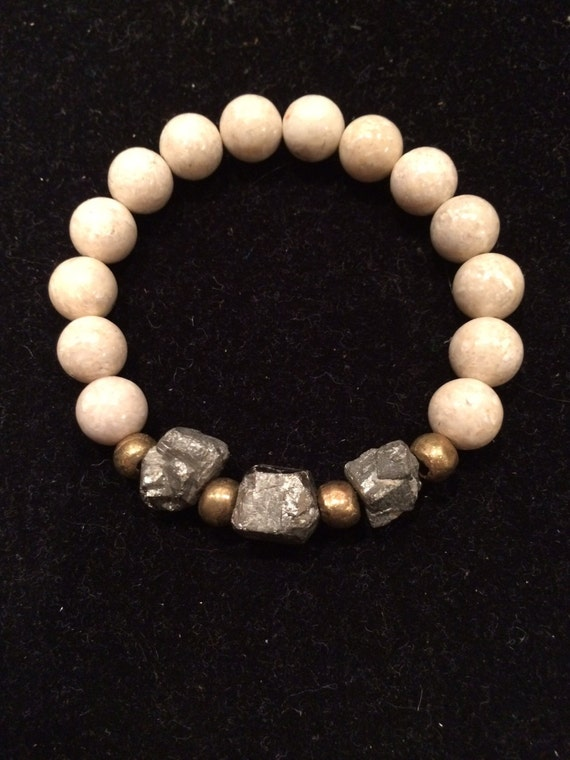Cream fossil bracelet with Pyrite cubes and African Brass Beads