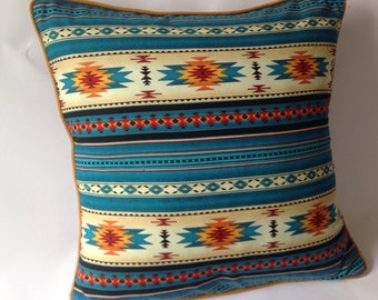 Southwestern turquoise print fabric with piping. handmade Cushion, pillow cover