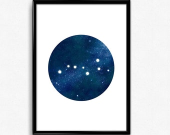 Ursa Major print, Constellation poster, Big Dipper illustration, Printable art, Astronomy print