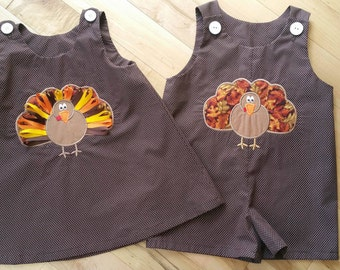 Thanksgiving Outfit, Matching Boys and Girls, Turkey, Fall, Dress or Romper