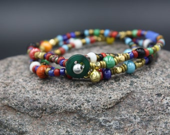 Men's Beaded Bracelet,  African Beads, Czech Luster Beads, Brass Bell, 100 Yr. Old Glass Beads, Cheung Chau Bracelet