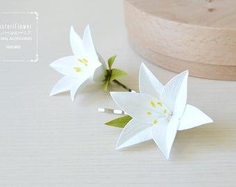 Lily hair clip White wedding flower girl hair clip White lily flower barrette bobby pin Hair accessories Baby gift Spring bridal flower