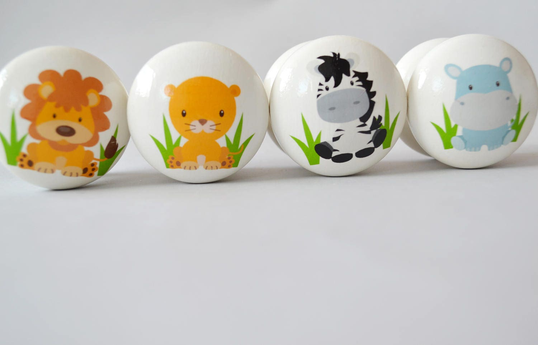 Jungle animals drawer knobs drawer pulls dresser pulls for Children s bureau knobs